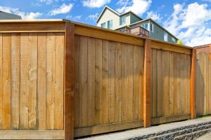 Wood Privacy Fence built in Orange County, California surrounding a home.